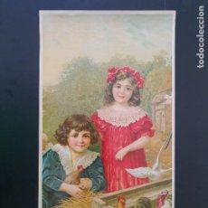 Arte: LAMINA DE NIÑOS, GALLINERO. MODERNISTA. AÑOS 30?. R. ALCALÁ. Nº 3706.. Lote 269132418
