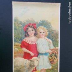 Arte: LAMINA DE NIÑAS, OVEJA Y FLORES. MODERNISTA. AÑOS 30?. R. ALCALÁ. Nº 3704. HECHO EN ESPAÑA. Lote 269133648