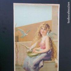 Arte: LAMINA DE NIÑA Y PALOMAS. MODERNISTA. AÑOS 30?. R. ALCALÁ. Nº 3705. HECHO EN ESPAÑA. Lote 269133943