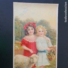 Arte: LAMINA DE NIÑA Y PALOMAS. MODERNISTA. AÑOS 30?. R. ALCALÁ. Nº 3702. HECHO EN ESPAÑA. Lote 269134703