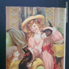 Arte: GIJÓN. ESPECTACULAR LAMINA DE NIÑA CON GATOS. AÑOS 30?.ARTES GRÁFICAS GIJÓN. Nº 12. FIRMA: J. G. M.. Lote 269140008