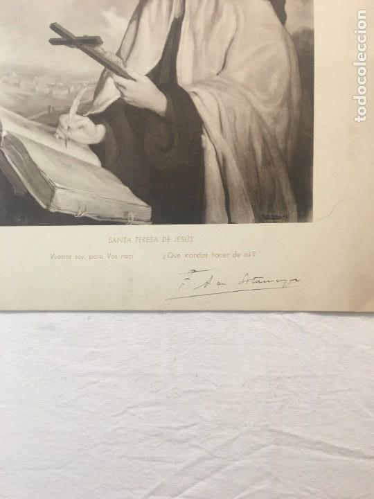 Arte: Lámina. Santa Teresa de Jesús de Sotomayor. Firma a pluma del pintor. Años 30. - Foto 2 - 269508153
