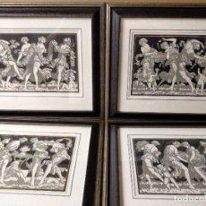 Arte: LOTE 4 CUADROS PLANCHAS MODERNISTAS, ILLUSTRATION FRANCAISE NOEL DE 1928.. Lote 269961658