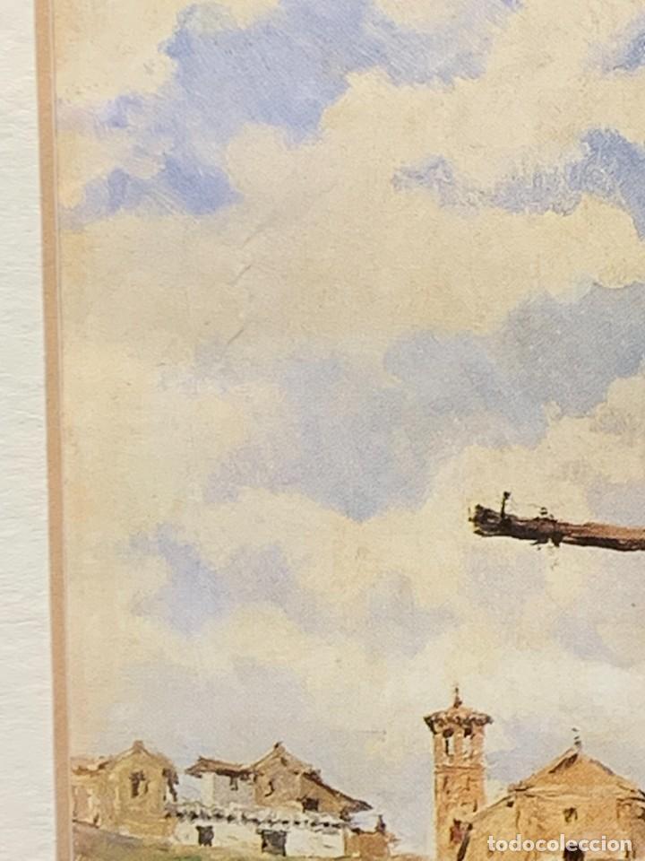 Arte: LAMINA ENMARCADA CASA IGLESIA TORRE CABALLO BURRO VISTA PUEBLO 33X27CMS - Foto 2 - 271882033
