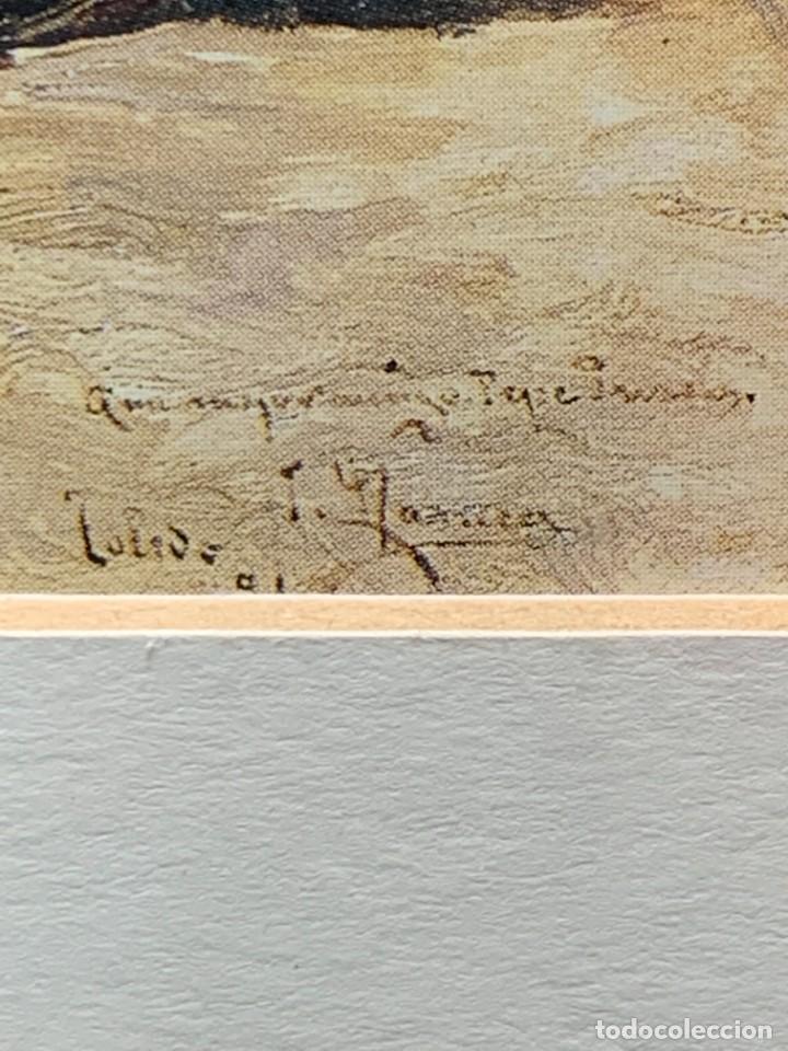 Arte: LAMINA ENMARCADA CASA IGLESIA TORRE CABALLO BURRO VISTA PUEBLO 33X27CMS - Foto 6 - 271882033
