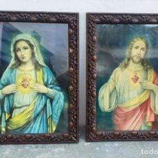 Art: CUADROS ANTIGUOS PAREJA DEL SAGRADO CORAZON DE JESUS Y MARIA DE 48 X 38 CMS. CON MARCOS BONITOS. Lote 274533888