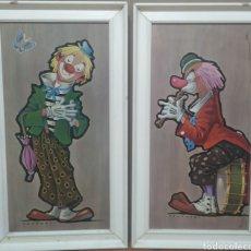 Arte: DOS CUADROS AÑOS 60 PAYASOS. Lote 275911178