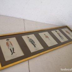 Art: CUADRO CON 5 LÁMINAS DE SOLDADOS, ABACTRIM ROCHE 1972, PUBLICIDAD DE FARMACIA (C1). Lote 276115073