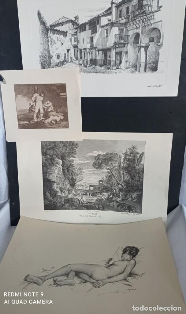 4 LAMINAS ANTIGUAS (GOYA Y 3 MAS) (Arte - Láminas Antiguas)