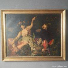 Art: GRAN LAMINA SOBRE LIENZO TEMATICA ORIENTALISTA ROMANTICA S XIX EN MARCO DORADO AÑOS 50. Lote 276657313