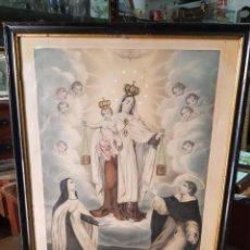 Arte: ANTIGUA LAMINA RELIGIOSA ENMARCADA VIRGEN DEL CARMEN. Lote 277004923