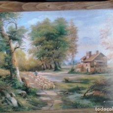 Arte: LOTE DE DOS BONITOS CUADROS LAMINAS SOBRE MADERA. Lote 280843698