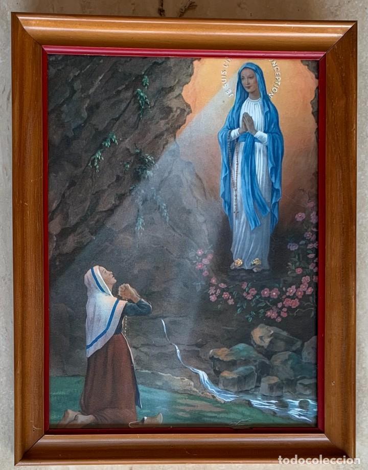 ANTIGUA LAMINA RELIGIOSA ENMARCADA MADERA Y CRISTAL 27,5 X 21 (Arte - Láminas Antiguas)