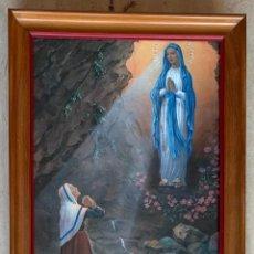 Arte: ANTIGUA LAMINA RELIGIOSA ENMARCADA MADERA Y CRISTAL 27,5 X 21. Lote 284258198