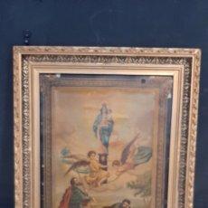 Arte: ANTIGUA LAMINA RELIGIOSA ENMARCADA EN MARCO DE MADERA VIRGEN CON ANGELES. Lote 286267328