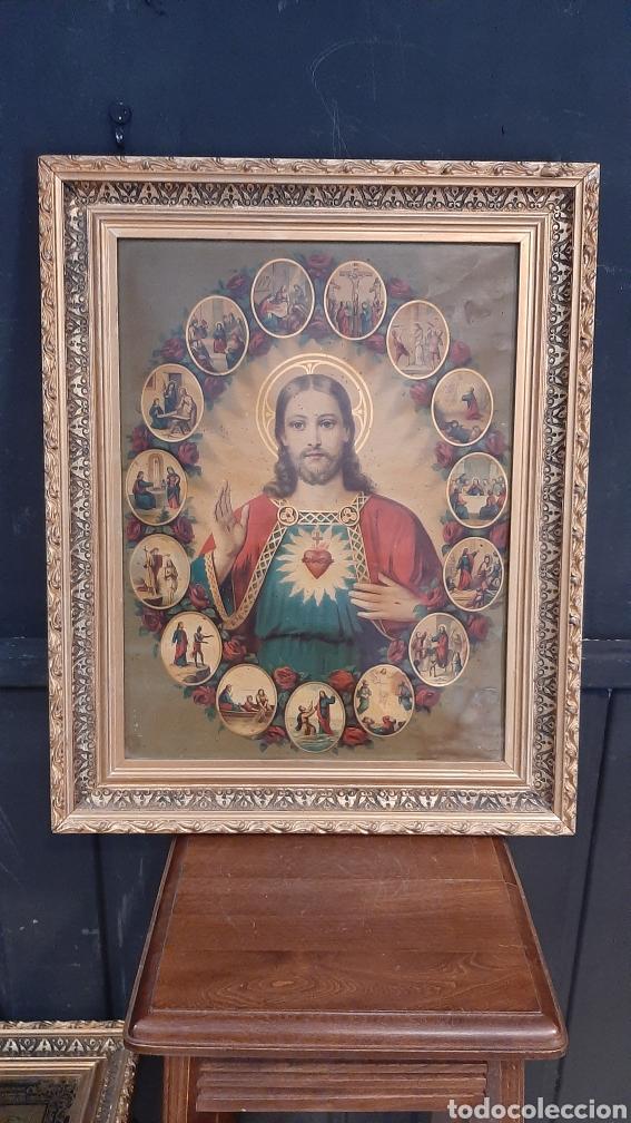 ANTIGUA LAMINA RELIGIOSA ENMARCADA EN MARCO DE MADERA SAGRADO CORAZON (Arte - Láminas Antiguas)