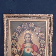 Arte: ANTIGUA LAMINA RELIGIOSA ENMARCADA EN MARCO DE MADERA SAGRADO CORAZON. Lote 286267698