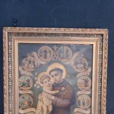 Arte: ANTIGUA LAMINA RELIGIOSA ENMARCADA EN MARCO DE MADERA SAN PEDRO. Lote 286268223