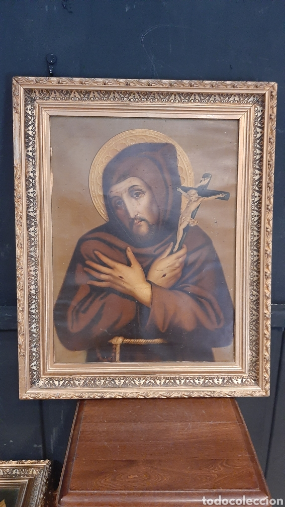 ANTIGUA LAMINA RELIGIOSA ENMARCADA EN MARCO DE MADERA CRISTO (Arte - Láminas Antiguas)