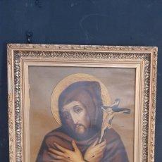 Arte: ANTIGUA LAMINA RELIGIOSA ENMARCADA EN MARCO DE MADERA CRISTO. Lote 286268453
