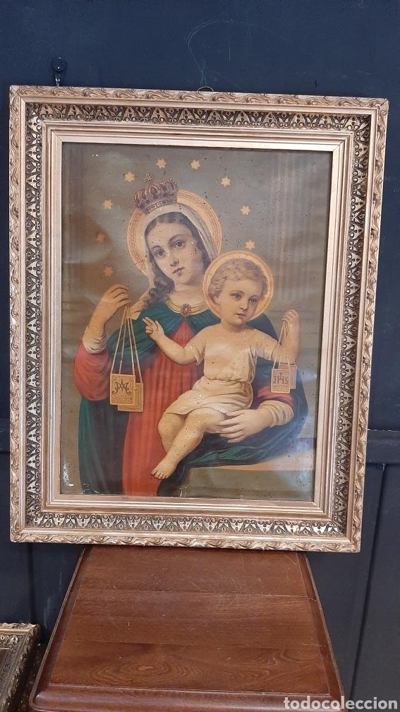 ANTIGUA LAMINA RELIGIOSA ENMARCADA EN MARCO DE VIRGEN CON NIÑO JESUS (Arte - Láminas Antiguas)