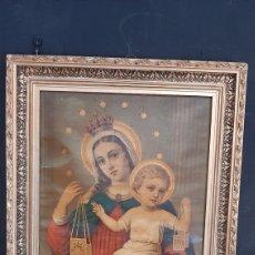 Arte: ANTIGUA LAMINA RELIGIOSA ENMARCADA EN MARCO DE VIRGEN CON NIÑO JESUS. Lote 286268758