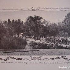 Arte: PUENTE CABALLETES EN EL EBRO SOTO DE ALMORZA ZARAGOZA C.1910.24 X 16. Lote 288387168