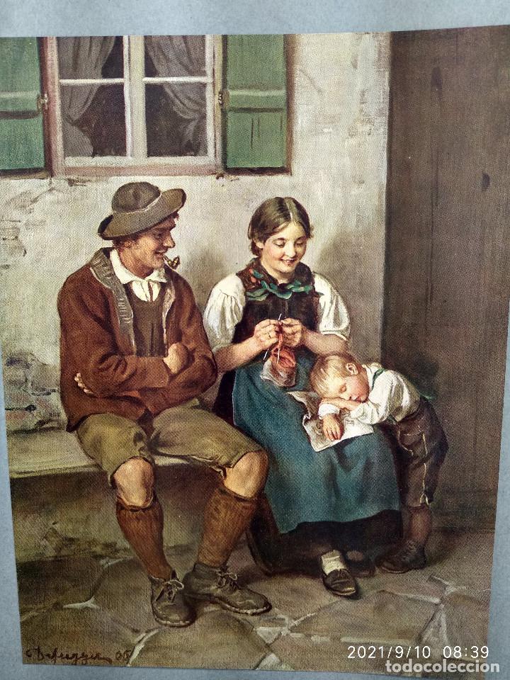 Arte: Feierabend de Fran von Defregger, plancha a color nº 45 de Deutsche Malerei des 19 - Foto 2 - 288433613