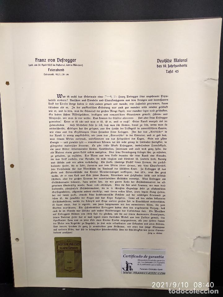 Arte: Feierabend de Fran von Defregger, plancha a color nº 45 de Deutsche Malerei des 19 - Foto 3 - 288433613