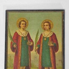 Arte: FRIDOLIN LEIBER (1853-1912) - ANTIGUA LÁMINA - SANTOS MÉDICOS - SAN COSME Y SAN DAMIÁN. Lote 288660218