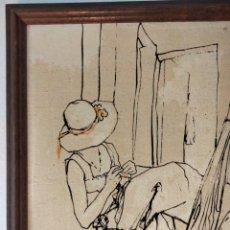 "Arte: PINTURA ""JOVENES EN ESCALERA"" ORIGINAL DE BERNARD DUFOUR. Lote 293916543"