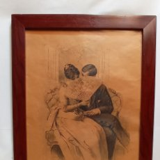 """Arte: LÁMINA ENMARCADA CON CRISTAL DE LA REVISTA ILUSTRADA HISPANO AMERICANA."""" LOS PROMETIDOS"""". Lote 296891078"""