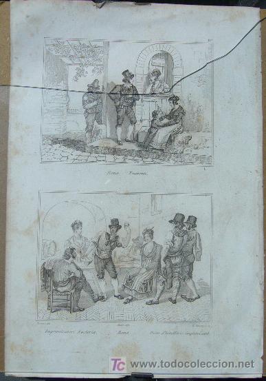 1232.- GRABADO ,,,ESCENAS CALLEJERAS,,, FIRMA ILEGIBLE (Arte - Litografías)