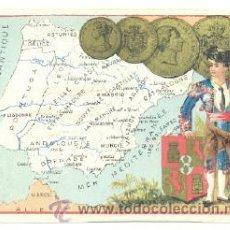 Arte: CROMO LITOGRAFÍA .. TORERO MAPA ESPAÑA Y MONEDAS ESPAÑOLAS. Lote 25689231