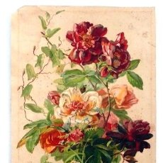 Arte: LITOGRAFÍA DE ROSAS Y MARIPOSA - FDO. W. MUSSILL - S. XIX. Lote 21083096