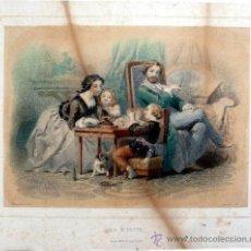 Arte: LITOGRAFÍA FRANCESA COLOREADA - LA DINETTE - LIT. BECQUET FRÈRES PARIS - S. XIX. Lote 11762691