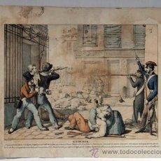 Arte: GRABADO FRANCÉS S XIX REVOLUCIÓN 1830 FRANCIA RUE DU JOUR PARÍS LITOGRAFÍA VILLAÍN. Lote 12049470