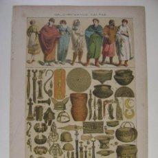 Arte: LITOGRAFIA EN COLORES GALO-ROMANOS CELTAS VESTIMENTAS Y ARMAS. Lote 13636436