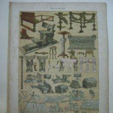 Arte: LITOGRAFIA EN COLORES ROMANOS MUEBLES EMBARCACIONES UTENSILIOS VARIOS MAQUINAS DE GUERRA. Lote 13839273