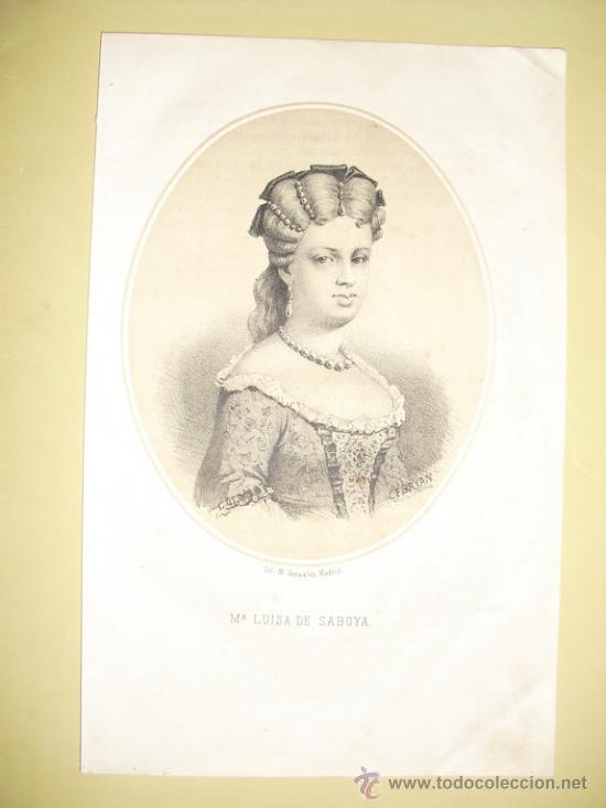 1870 LITOGRAFIA DE Mª LUISA DE SABOYA (Arte - Litografías)