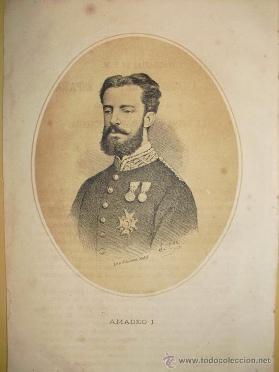 1870 LITOGRAFIA DE AMADEO I DE SABOYA (Arte - Litografías)