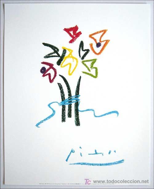 PABLO PICASSO / FLORES . LITOGRAFÍA FIRMADA EN LA PLANCHA PAPEL VELIN ARCHES (Arte - Litografías)