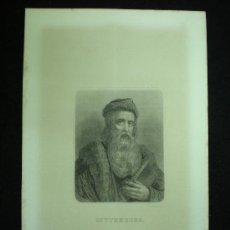 Arte: LITOGRAFÍA. GUTTEMBERG. POR GEOFFROY. MADRID. C. 1880.. Lote 19320280