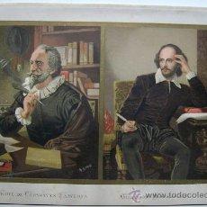 Arte: LITOGRAFIA EN COLORES GRANDES ESCRITORES MIGUEL DE CERVANTES SAAVEDRA Y WILLIAM SHAKESPEARE. Lote 21454096