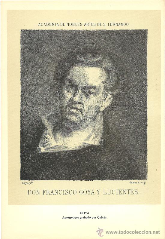 LAMINA DE DON FRANCISCO GOYA Y LUCIENTES (Arte - Litografías)