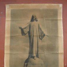 Arte: LITOGRAFIA ANTIGUA. SAGRADO CORAZON DE JESUS. CERRO DE LOS ANGELES. GETAFE. MADRID. Lote 27106226
