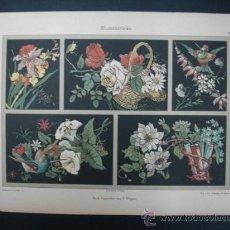 Arte: LITOGRAFÍA. DECORACIÓN. FLORES. 25 X 35 CM. . Lote 23434541