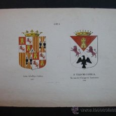 Arte: LITOGRAFÍA SIGLO XIX. HERÁLDICA. ARMAS REYES CATOLICOS 1492. D. TELLO DE CASTILLA 1368. . Lote 24779656