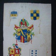 Arte: LITOGRAFÍA SIGLO XIX. HERÁLDICA. ESCUDOS DE O NOYELLE, GINEBRA, D. MARTIN MAYOL, TEMPLE, MASDOVELLES. Lote 24779845
