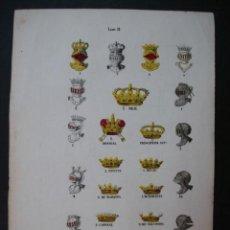 Arte: LITOGRAFÍA SIGLO XIX. HERÁLDICA Y BLASONES. CORONAS. . Lote 24779878
